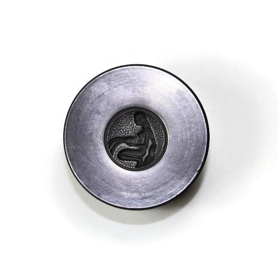 Picture of Aquarius Zodiac Button Silver Stamping